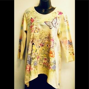 Small Cactus butterfly tunic shirt NWT